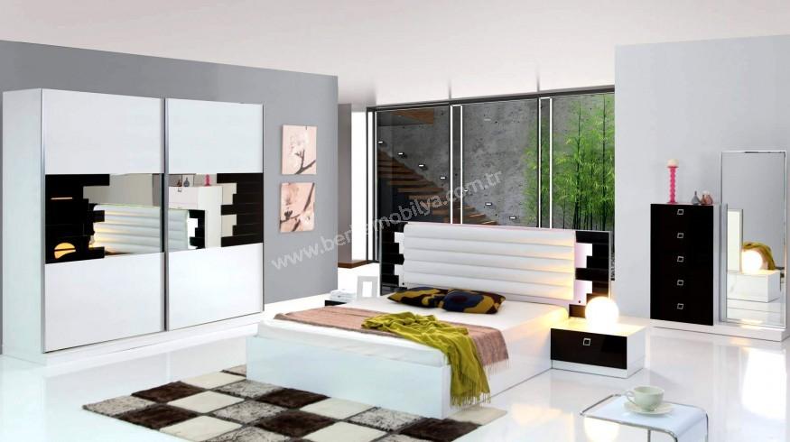 Milan Modern Yatak Odası Takımı Beyaz Teşhir