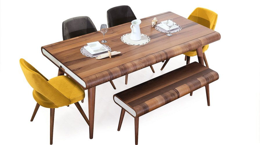 Star Ahşap Ekru Yemek Masası Sırtı Açık Sandalye Ahşap Bench