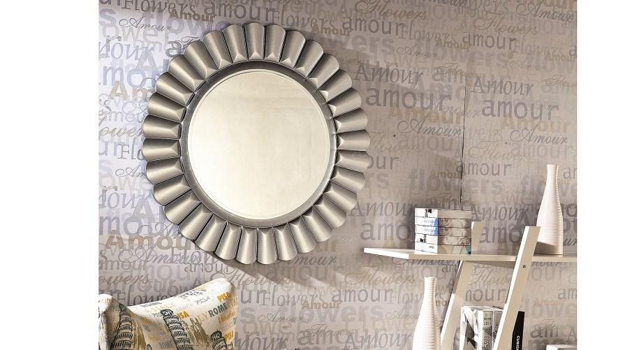 Güneş Dekoratif Ayna İpek Gri
