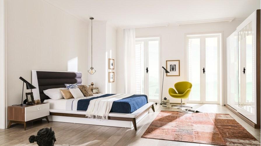 Almoda Ceviz Beyaz Yatak Odası