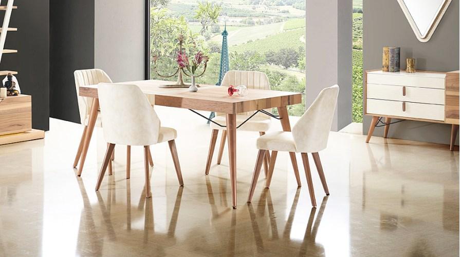 Banko Ahşap E26 Yemek Masası Naturel Mat İmira Sandalye