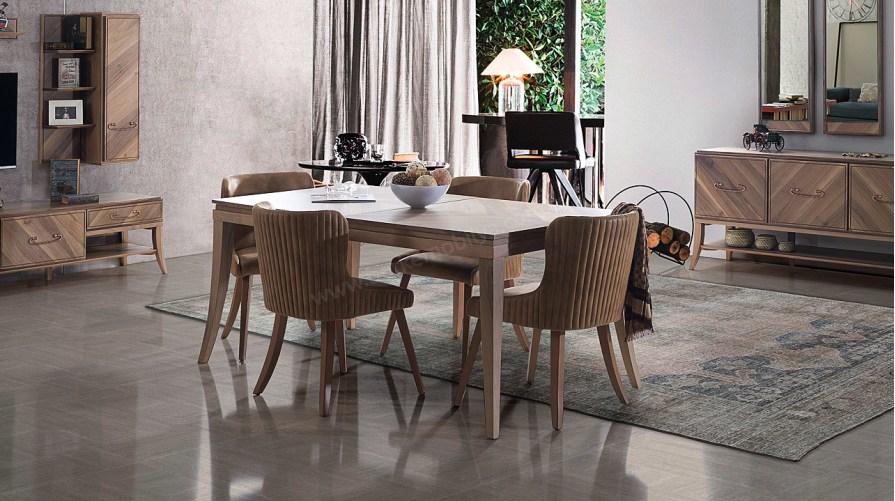 Cess Ahşap Ceviz Yemek Masası Delüx Parlak Soho Sandalye