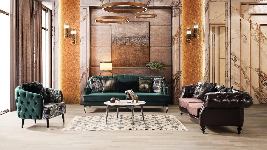 Troya Chester Art Deco Koltuk Takımı