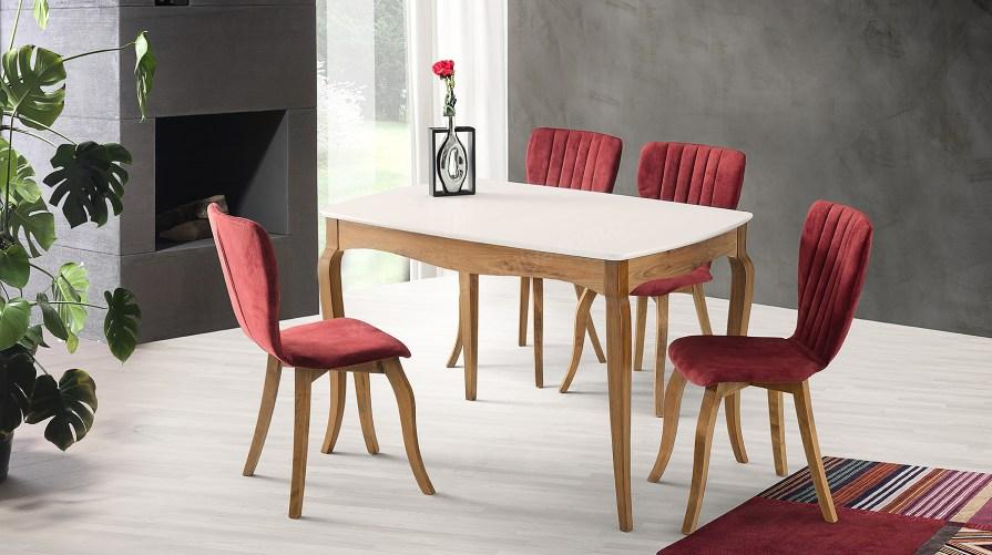 Pınar Ceviz Masa Mono Bordo Sandalye Set