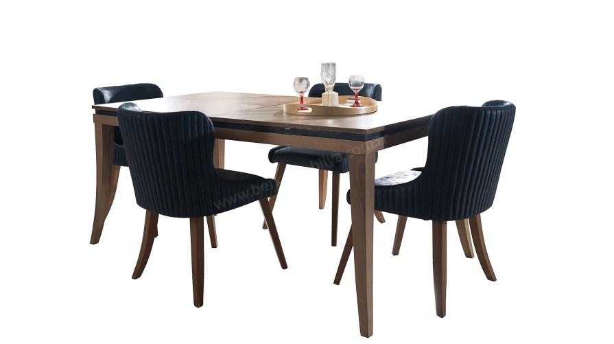 Cess Ahşap Mavi Yemek Masası Naturel Mat Soho Sandalye