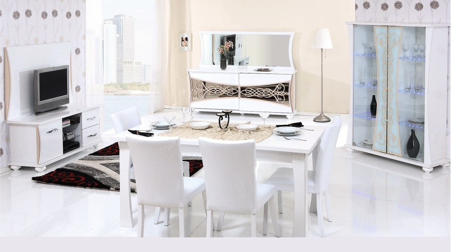 Gloria Yemek Odası Takımı Beyaz - Balbuğu