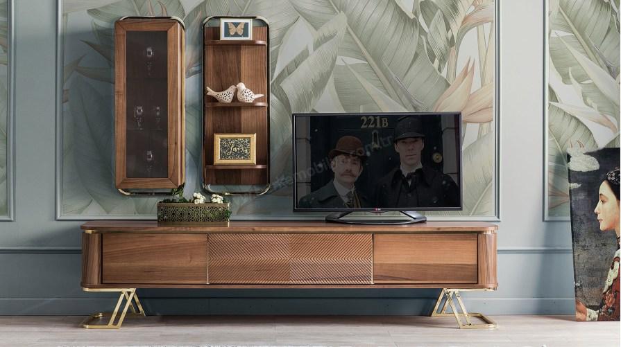 Gold Metal Ahşap Tv Ünitesi Outlet