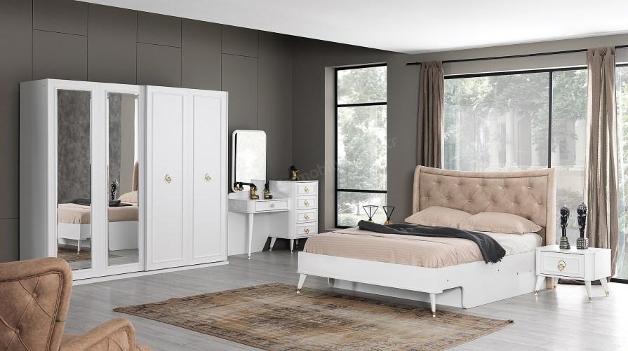 Beyaz Ilıca Sürgülü Yatak Odası Takımı
