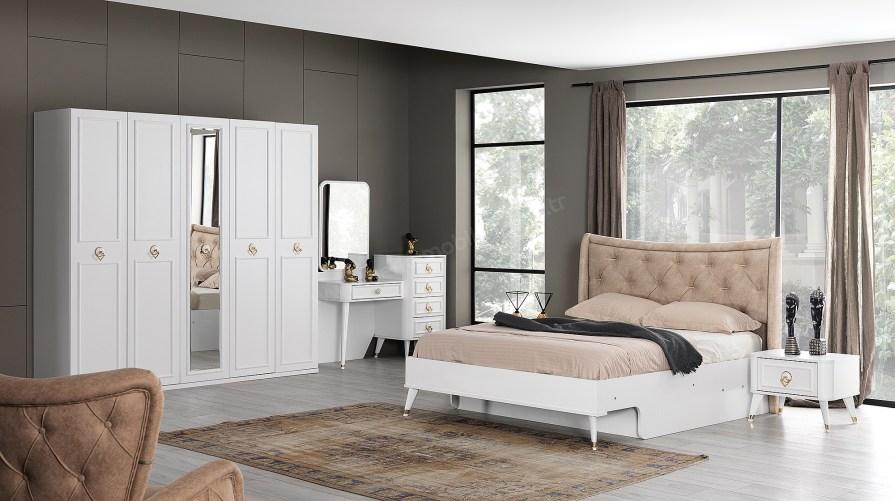 Beyaz Ilıca Kapaklı Yatak Odası Takımı
