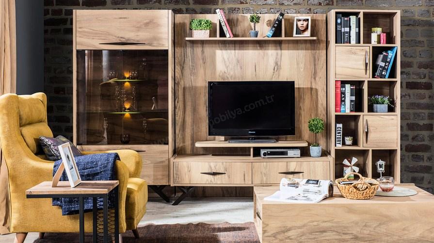 Loftier Tv Sehpası Vitrin Kitaplık Set