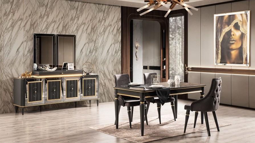 World Luxury Siyah Yemek Odası Takımı