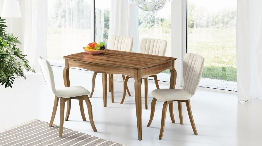 Pınar Ceviz Masa Mono Krem Sandalye Set