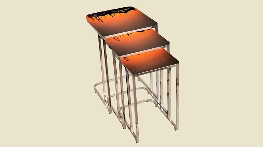 Modern Metal Ayak Camlı Sehpa