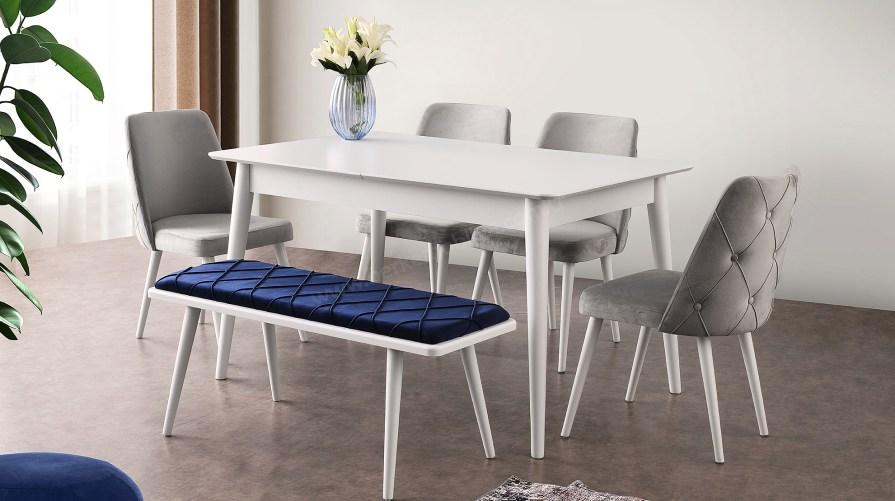 Sidem Beyaz Yemek Masası Mila Set