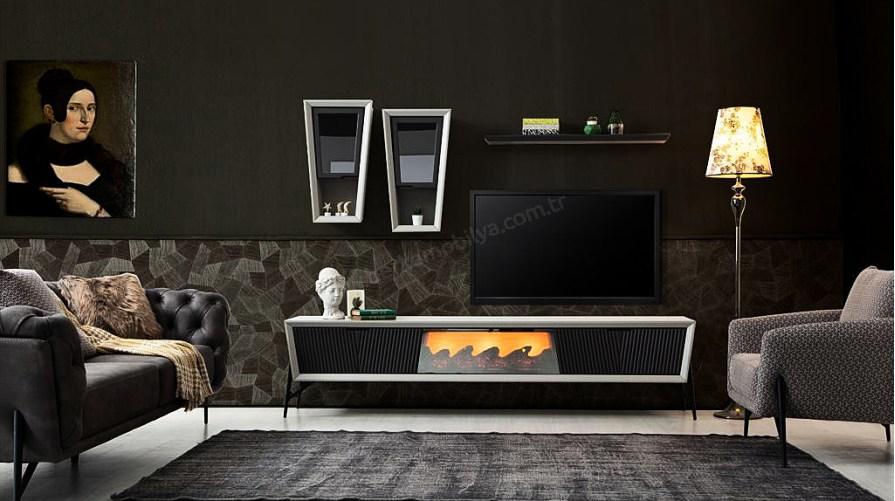 Hilton Ahşap Modern Tv Ünitesi Şömineli